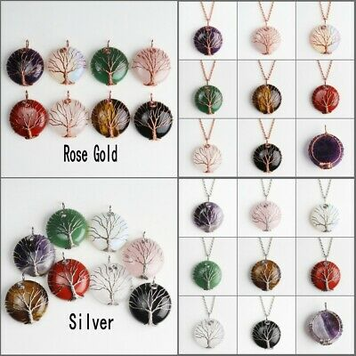 Natural Gemstones Amethyst Rose Gold Tree of Life Reiki Chakra Pendant Necklace