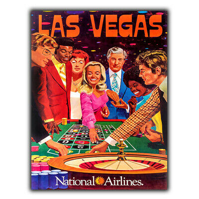 LAS VEGAS SIGN WALL PLAQUE Roulette Vintage Retro Travel Advert poster print