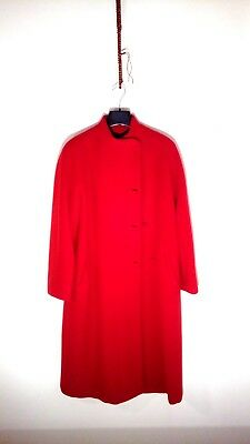 Long Wool Red Coat - Vintage New - High Quality - Made In Itay - Size Italian 42