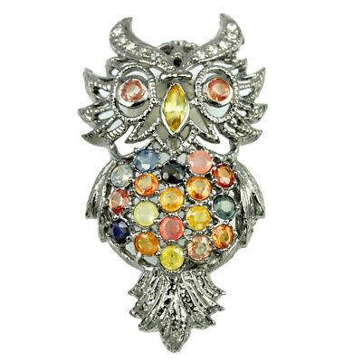 46X25 Mm. Real Multi Color Songea Sapphire & Cz Sterling 925 Silver Owl Brooch