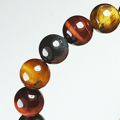 128.25Ct 100% Natural African Tigereye Colour  Bead Bracelet BHY1303