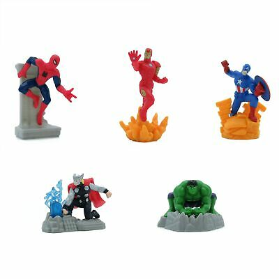 AVENGERS SET Completo 5 Mini FIGURE Spiderman Ironman Etc. 7cm Torta Cake Topper