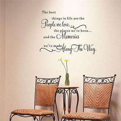 The Best Things In Life Love Memories Wall Quote Home Art Decal Vinyl Sticker FM