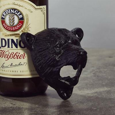 Cast Iron Metal Wall Mounted Black BEAR Bottle Opener Beer Coke Soda  Tool FM