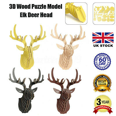 UK Large Wooden Deer Trophy Animal Head 3D Wall Art Decor Stag Head Antlers