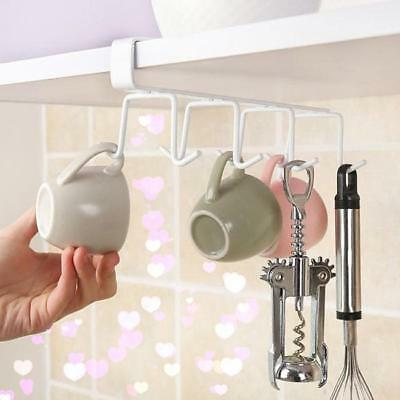 NEW Cup Holder Hang Kitchen Cabinet Under Shelf Storage Rack Organiser Hook FM