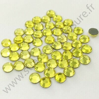 Strass thermocollant rond hotfix JAUNE, 2mm, 3mm, 4mm, 5mm,  6mm au choix