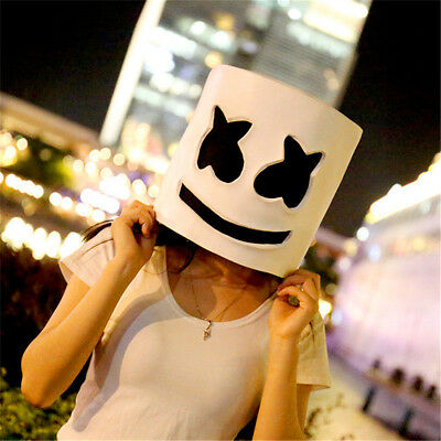 DJ Marshmello White Mask Full Head Helmet Cosplay Costume Accessory Hat GiftNew