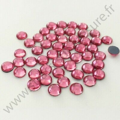 Strass thermocollant rond hotfix ROSE, 2mm, 3mm, 4mm, 5mm,  6mm au choix