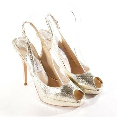 a91fbdbd43b4ed Jimmy Choo Sandales Taille D 38,5 or pour Femme Chaussures Talons Hauts Cuir