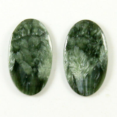 22.60 Cts Natural Seraphinite Oval Shape Loose Cabochon Matching Pair Gemstone