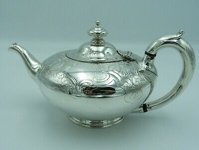 Superb early Victorian Solid Sterling Silver Teapot 1843 Walter Morrisse