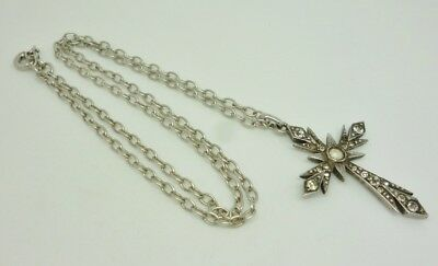 Rare Antique 19thC French Sterling Silver Paste Set Cross Pendant & Chain