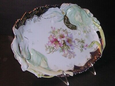 Unmarked RS Prussia Shallow Open Handled Oval Tray Rare Two Hidden Faces