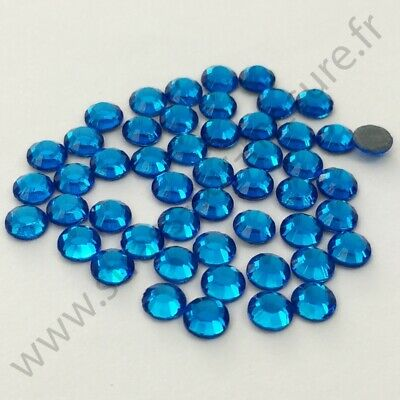 Strass thermocollant rond hotfix BLEU, 2mm, 3mm, 4mm, 5mm, 6mm au choix