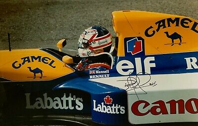 Nigel Mansell Hand Signed Canon Williams Renault 25x16 Photo F1 Rare.