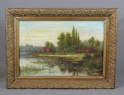 Large English Oil Painting Landscape Waterscape 19th Century