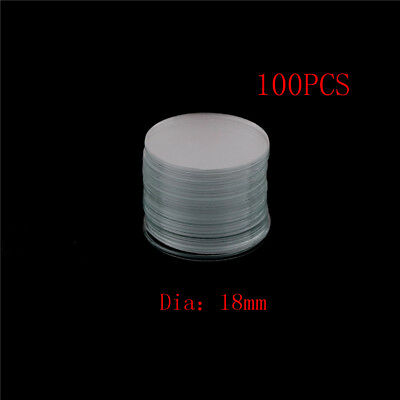 100Pcs Circular Round Microscope Slide Coverslip Cover Glass Diameter 18mm DS