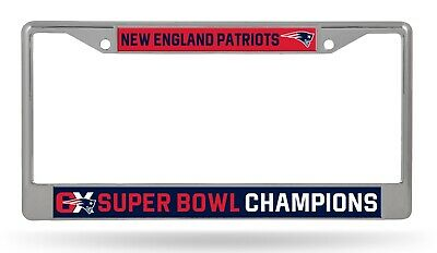 New England Patriots 6X Super Bowl Champions Chrome Frame License Plate Cover
