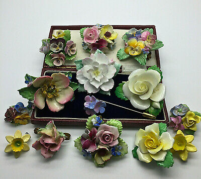 Vintage Jewellery Mixed Lot China Flower Brooches/pins