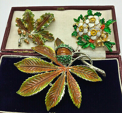 Vintage Jewellery Mixed Lot Exquisite Enamel Acorn/christmas Rose Brooches/pins