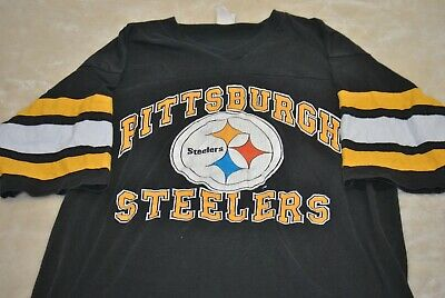b703a538f Vintage Pittsburg Steelers Logo NFL 7 Mens L Single Stitched Black  Yellow White