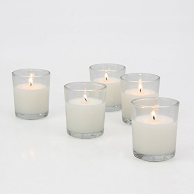 Stonebriar 48 Pack Unscented Long Burning Clear Glass Wax Filled Votive Candles,