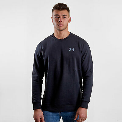 Under Armour Mens Rival Fleece Solid Fitted Crew Sweat Black