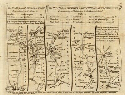 St Albans Hatfield Hertford Hoddesdon Stevenage Hitchin. KITCHIN road map 1767