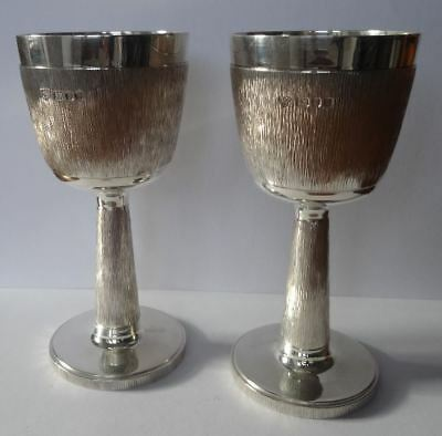 A Very Fine Pair Of English Sterling Silver Wine Goblets, Garrard & Co, London