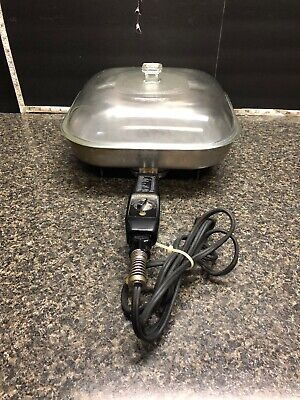 Vintage Sunbeam Aluminum Electric Fry Pan With Glass Lid Model Fp-L 015725.