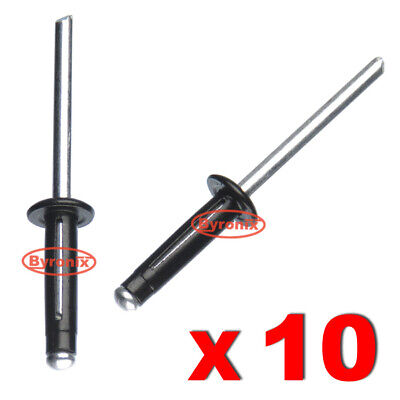 10 X POP RIVETS FOR VOLVO METAL ALUMINIUM BLACK SPLIT TYPE 4.8mm X 20mm BLACK