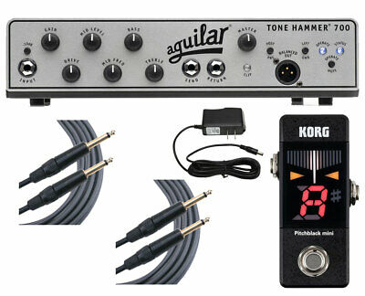Aguilar Tone Hammer 700 + Pitchblack Mini Tuner + Cables + Power Supply