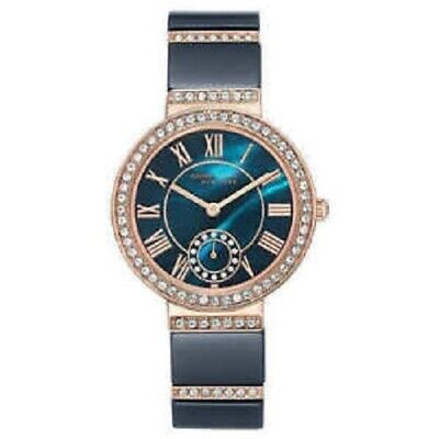 Anne Klein Womens 12/2300NVRG Rose Gold-Tone & Blue Ceramic Crystal Accent Watch
