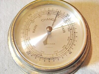 altes Barometer  , Messing , rund  , Made in Germany , englische Beschriftung
