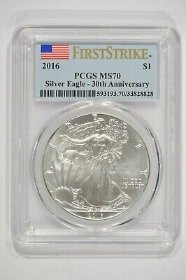 2016 American Silver Eagle $1 30th Anniversary PCGS MS70 First Strike 33828828