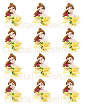 30x BLACK /& WHITE BEAUTY AND THE BEAST EDIBLE FONDANT//WAFER CUPCAKE TOPPERS