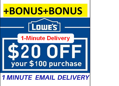 3X Lowes $20OFF100 Coupon InStore Online-FastDelivery+STACKING BONUS INFO($5)