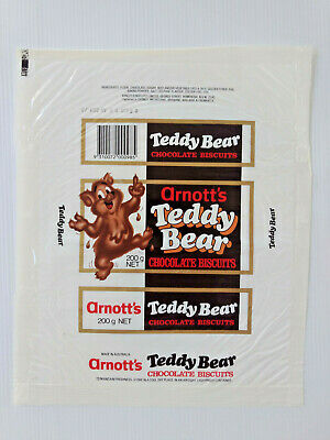 1989 Arnott's 200g TEDDY BEAR CHOCOLATE BISCUITS CELLOPHANE WRAPPER            a