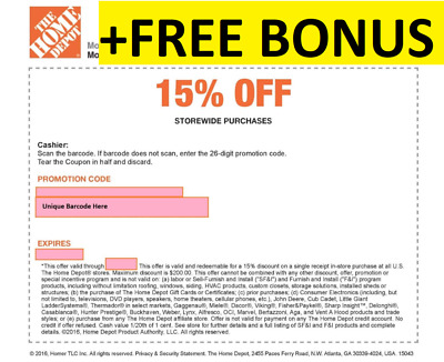 ONE 1X 15% OFF Home Depot Coupon Instore MAX$200 Fast Shipment+ STACKING BONUS$5