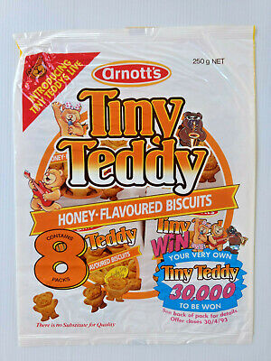 1993 Arnott's 250g 8PK TINY TEDDY HONEY-FLAVOURED BISCUITS CELLOPHANE WRAPPER
