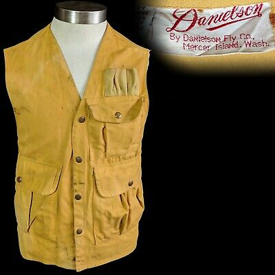 Vintage 1960s 1970s Danielson Fly Dandy Shell Vest Canvas Hunting Fishing L XL