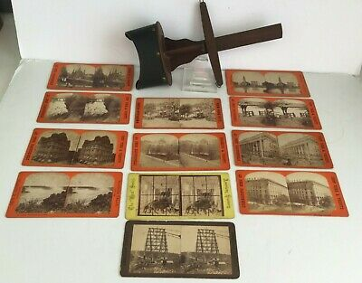 13pcs American Lens Stereocope + New York Brooklyn Central Park Stereoview Cards