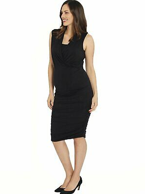 Maternity Sleeveless Top & Stretchy Rouched Skirt Outfit - Bamboo Black