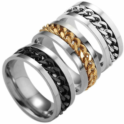 Men Titanium Stainless Steel Ring Rotatable Spinning Chain Punk Band Size UK