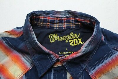 Wrangler 20x Mens Western Shirt sz Large Blue Orange Plaid LS Pearl Snap