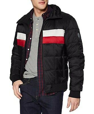 9244ba3b Tommy Hilfiger Men's Black Colorblock Quilted Puffer Full Zip Bomber Jacket  $195
