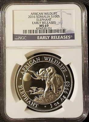 2016 Somalia African Wildlife Elephant .9999 Fine Silver NGC MS69 Early Release