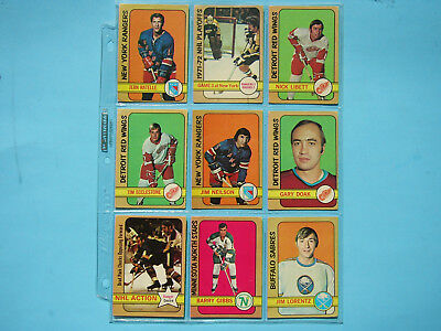 Lot 18 1972/73 O-Pee-Chee Hockey Cards Vg Nice Dave Burrows Rc Norris Trophy Opc