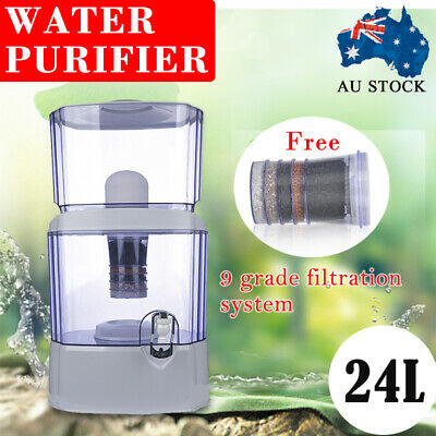 9 Stage 24L Ceramic Carbon Mineral Water Filter Benchtop Dispenser Purifier Top